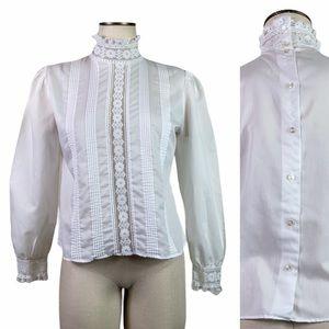 Vintage Edwardian Ruffle Collar Lace Blouse Union